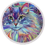 Colorful Long Haired Cat Art Round Beach Towel