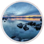 Colorful Sunset At Sand Harbor Round Beach Towel