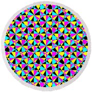 Crazy Psychedelic Art In Chaotic Visual Color And Shapes - Efg22 Round Beach Towel