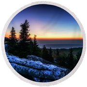Dawn At Bear Rocks Preserve Round Beach Towel