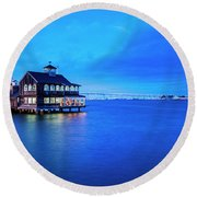 Dinner On The Bay Round Beach Towel