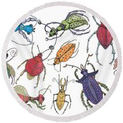 Doodle Bugs Round Beach Towel