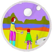 Double Moon Round Beach Towel