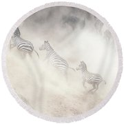 Dramatic Dusty Great Migration In Kenya Round Beach Towel