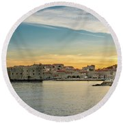 Dubrovnik Old Town At Sunset Round Beach Towel