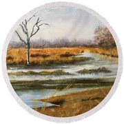 Early Spring On The Marsh Round Beach Towel