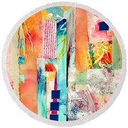 Round Beach Towel featuring the painting Evermore by Tracy Bonin