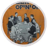 Round Beach Towel featuring the painting Feb 1938 Dublin Opinion by Val Byrne