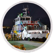 Ferry Boat At Night In Kaohsiung Port Round Beach Towel