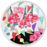 Flowers And Teacups Round Beach Towel