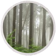 Foggy Forest Round Beach Towel