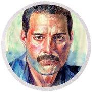 Freddie Mercury Painting Round Beach Towel