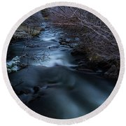Frozen River And Winter In Forest. Long Exposure With Nd Filter Round Beach Towel