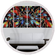 Funny Abstract Overlay Round Beach Towel