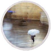 Round Beach Towel featuring the photograph Gentle Rain by Alex Lapidus
