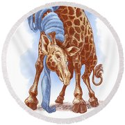 Round Beach Towel featuring the drawing Giraffe by Clint Hansen