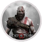 God Of War Kratos Round Beach Towel