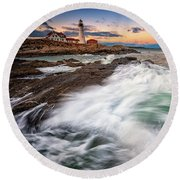Round Beach Towel featuring the photograph High Tide At Dusk by Rick Berk