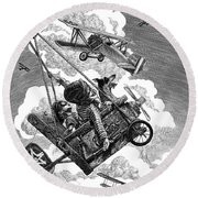 Round Beach Towel featuring the drawing I Want To Fly by Clint Hansen