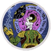 Round Beach Towel featuring the digital art Incal by Sotuland Art