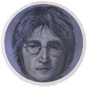 John Lennon Re-imagined Round Beach Towel