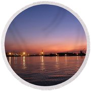 Kaohsiung Port At Dusk Round Beach Towel
