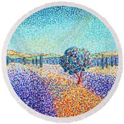 Lavender Field In Provence Round Beach Towel