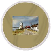 Round Beach Towel featuring the painting Lighthouse On Inis Boffin, Galway by Val Byrne