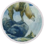 Llama And The Castle Round Beach Towel