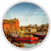 Low Tide And Lobster Boats At Motif #1 Round Beach Towel