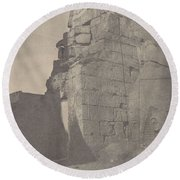 Luxor  Historical Sculptures Of Pylon  Massif Right   Round Beach Towel