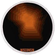 Map Of Wisconsin Round Beach Towel