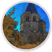 Medieval Bell Tower 6 Round Beach Towel