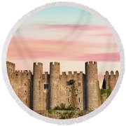 Medieval Castle Of Obidos Round Beach Towel