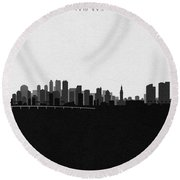 Miami Cityscape Art V2 Round Beach Towel