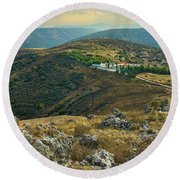 Monastery Agion Anargiron Above Argos Round Beach Towel