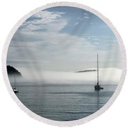 Morning Mist On Frenchman's Bay Round Beach Towel