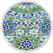 Mosaic Exterior Decorations Of The Hassan II Mosque Round Beach Towel