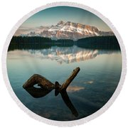 Mount Rundle And Two Jack Lake Round Beach Towel