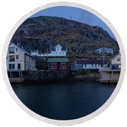 Norwegian Seaside Town Nyksund Round Beach Towel