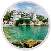 Old Town View Of Skiathos Island, Sporades, Greece.  Round Beach Towel