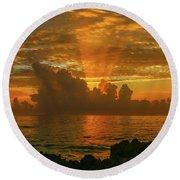 Orange Sun Rays Round Beach Towel