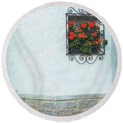 Ornate Window With Geraniums Round Beach Towel