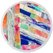 Round Beach Towel featuring the painting Out Of Site, Out Of Mind by Tracy Bonin