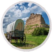 Out On The Oregon Trail Round Beach Towel