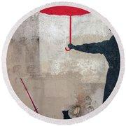 Paris Graffiti Man With Red Umbrella Round Beach Towel