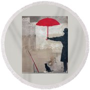 Paris Graffiti Man With Red Umbrella Round Beach Towel