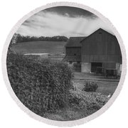 Peaceful Amish Farm  Round Beach Towel