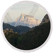 Round Beach Towel featuring the photograph Pena Montanesa by Stephen Taylor