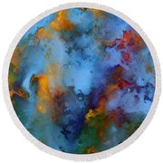 Round Beach Towel featuring the painting 1 Peter 5 7. He Cares For You by Mark Lawrence